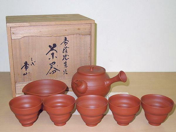 三代 山田常山 常滑焼朱泥煎茶器