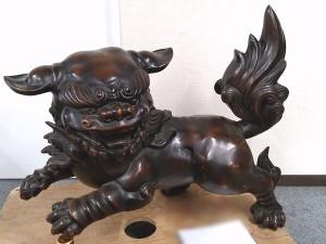 古銅獅子置物