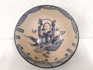 青木木米造 百老人物語染付茶碗2