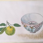 小倉遊亀 木版画 橘と九谷鉢
