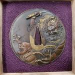 陽光刻唐銅製金銀色絵鍾馗図鍔