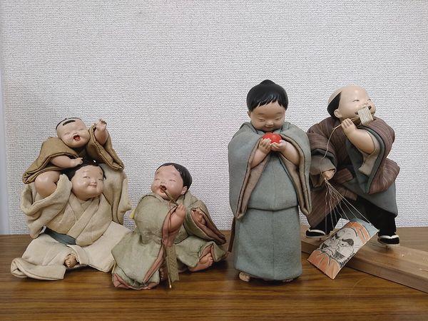 平田郷陽 衣装人形(嬉戯、熟柿、遊魚、凧上げ)