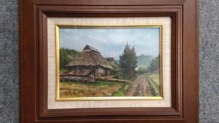 山口貢史 油彩「大杉のある家」