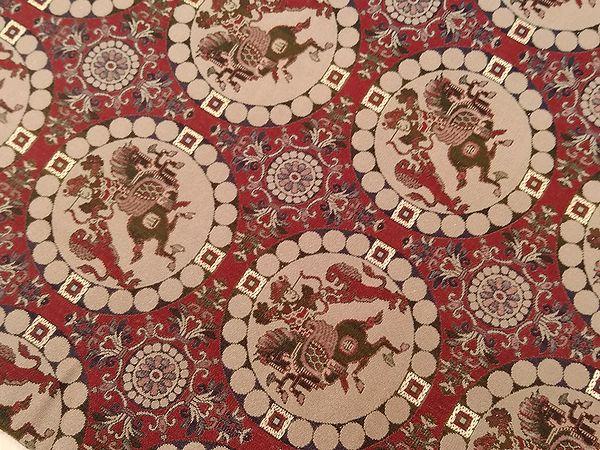 龍村美術織物製 獅子狩文錦 名古屋帯