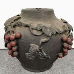 古銅盛上葡萄細工花瓶