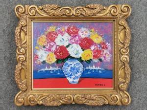 清水亟典 油彩画「薔薇」