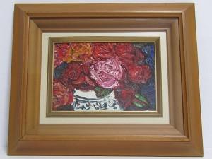 北川金治 油彩画 薔薇