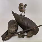 株木秀明 鋳銅筍に雀