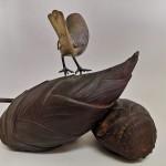 株木秀明 鋳銅筍に雀2