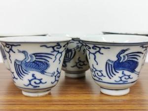 大明成化年製銘 藍染付煎茶碗2