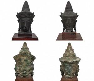 クメール カンボジア 古銅仏頭